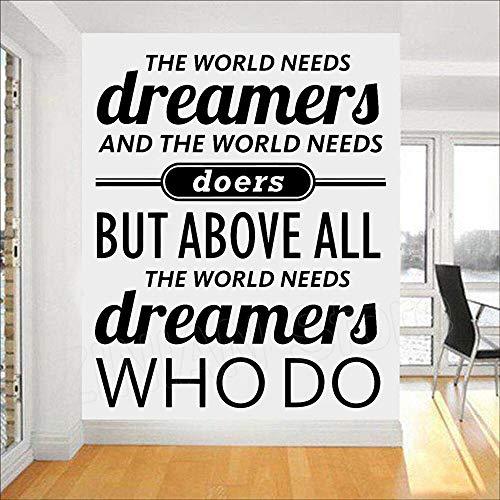 mlpnko Die Welt braucht Träumer Wandaufkleber für Schlafzimmer für Wohnzimmer Poster Wandbilder Vinyl Wandtattoos für Schlafzimmer, 81x101cm