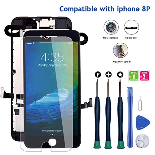 """Screen Replacement for iPhone 8 Plus, LCD Display Touch Digitizer Full Assembly Kit with Front Camera+ Earpiece Speaker+ Repair Tools Kit+ Screen Protector (iPhone 8 Plus Screen Black 5.5"""")"""