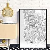 ZWXDMY Leinwand Bild,Perth Australien Stadtplan Drucken