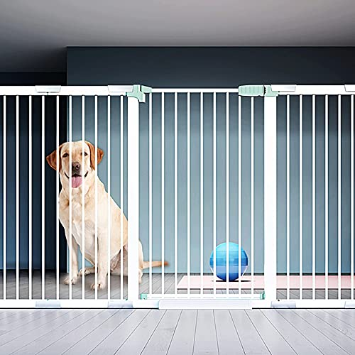 Pets Safety Gate Extra Wide Auto Close Stair Fence Pressure Mounted Pet Protection Fence Without Drilling With Extended Pet Door For Stairs, Doors, Corridors, Passages