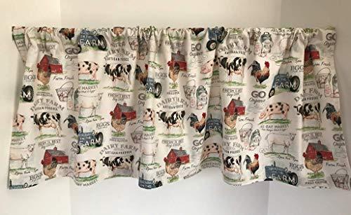 Farmhouse Theme Valance Curtain Custom Made Window Treatment
