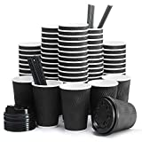 Insulated Disposable Coffee Cups with Lids & Straws 16 oz, 85 Packs - Paper Cups for Hot Beverage Drinks To Go Tea Coffee Home Office Car Coffee Shop Party (Black)