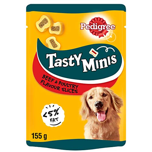 Pedigree Tasty Minis - Dog treats, Chewy Slices with Beef and Poultry, Pack of 8 x 155 g