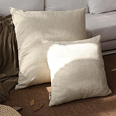Kevin Textile Decor Lined Linen Pillow Cover Burlap Square Throw Cushion Covers Case Euro Pillow Case Sham for Couch, 26 x26 (1 Pack, Natural Linen)