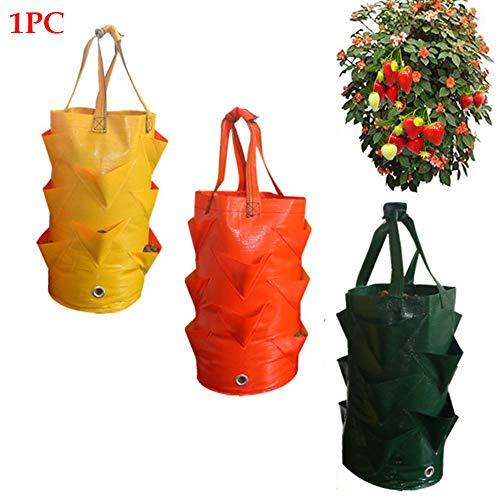NANAD Erdbeerpflanzsack für Kartoffeln, Blumen, Gemüse, Außenbereich, vertikale Antenne, zum Aufhängen, offener Stil, grün, Free Size