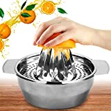 Stainless Steel Lemon Oranges Squeezer Juicer Manual Hand With Bowl Container Lemons Manual Juicer Fruit Easy Use Hand Press Citrus