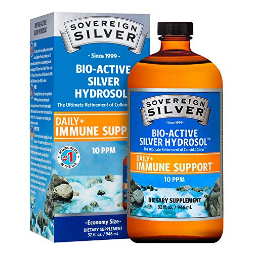 Sovereign Silver Bio-Active Silver Hydrosol for Immune Support - Colloidal Silver - 10 ppm, 32oz (946mL) - Family Size
