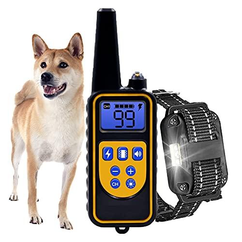Erziehungshalsband für Hunde,HEYDRPET Erziehungshalsband Hund mit Fernbedienung Geeignet für kleine, mittlere und große Hunde - Wasserdicht - 2600 Fuß Fernbedienung Entfernung(Schwarzes Nylonband)
