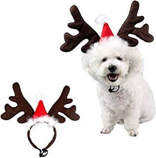 Stock Show Pet Reindeer Antlers Christmas Costume Dog Cat Elk Headband Deer Horn Hat Costume with Xmas Santa Red Hat and Bells Decor Pet Christmas Festival Party Costume Apparel Accessory Photo Props