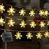 Snowflake Solar Decorations Lights, 50 Led 24.6 Feet Outdoor Waterproof Fairy Lights with 8 Lighting Modes for Wedding, Party, Tree, Room, Garden, Patio, Yard, Home(Warm White)