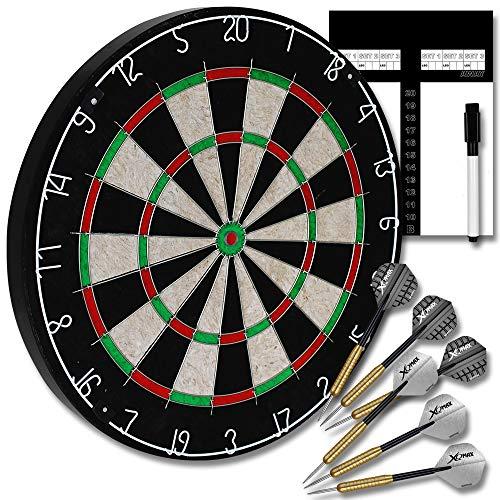 TW24 Dart Starter Set Dartscheibe inkl. 6 Dartpfeile Abwurflinie Spielstandtafel Komplettset Dartset Steeldarts Dartspiel Starterset