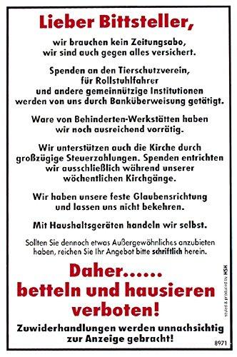 Spaß-Schild - Lieber Bittsteller hausieren verboten - 308971-20cm x 30cm - Kunststoffschild