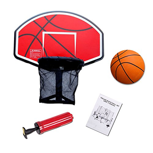 Exacme Trampoline Basketball Hoop with Ball and Attachment for Straight Net Poles, Orange BH04OR