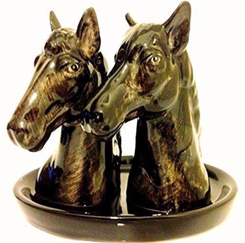 B2SEE LTD Keramik – Pferde - Salz und Pfefferstreuer - Küchentisch - Frühstückstisch – Set Rappe Vollblut Araber 14 x 12 x 9 cm