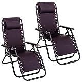 Pack de 2 sillas Gravedad Cero reclinables con Bloqueo de Seguridad de Tejido Oxford y Acero de 95x65x106 cm (Negro)