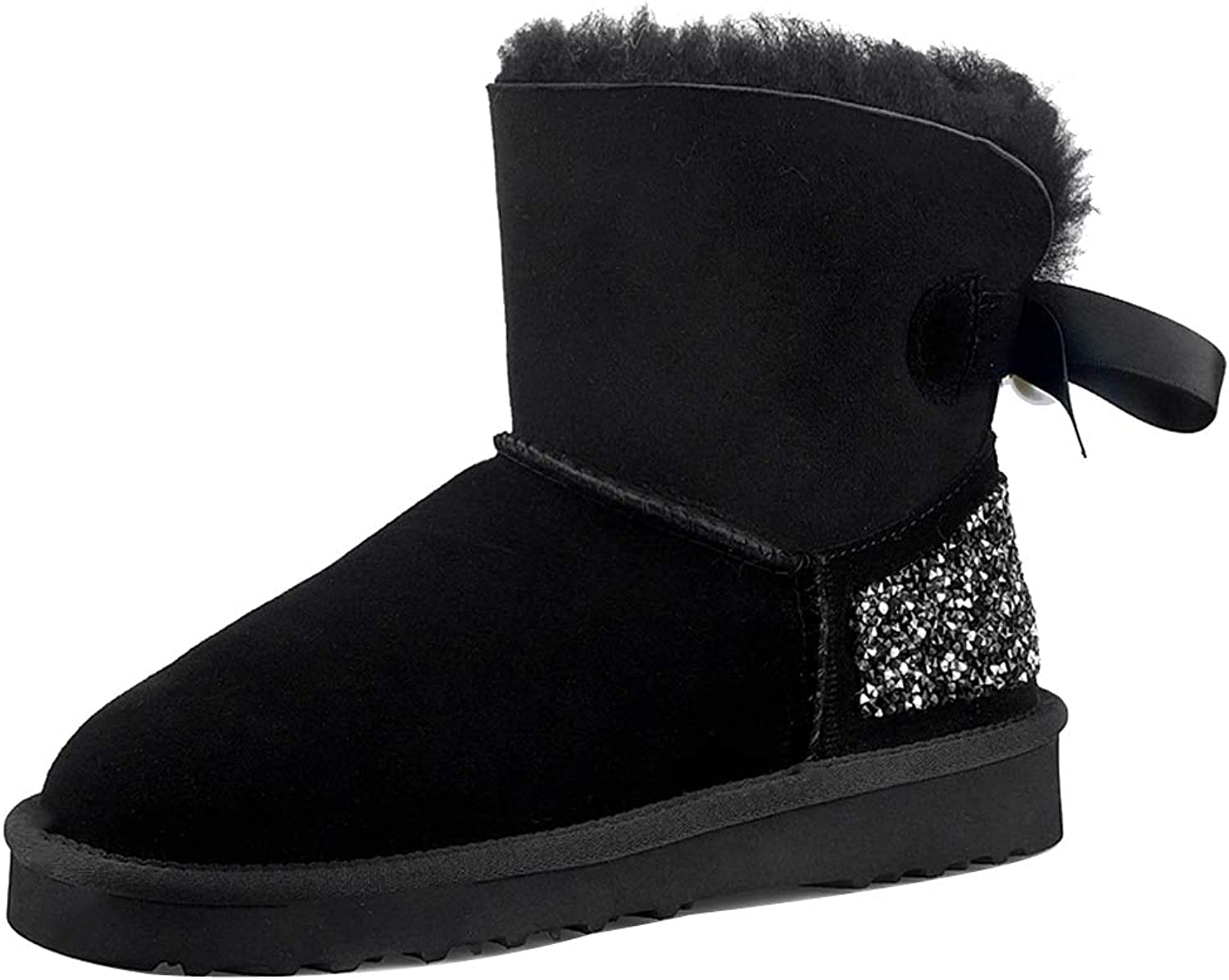Themost Women's Suede Leather Sheepskin Fur Lining Snow Boots Winter Walk Ankle Boot Bow Booties