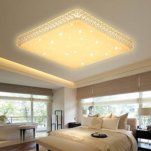 VINGO® 60W LED Kristall Deckenleuchte Starlight Effekt Mordern Schlafzimmer Deckenbeleuchtung Warmweiß Panel Lampe 2700K-3000K