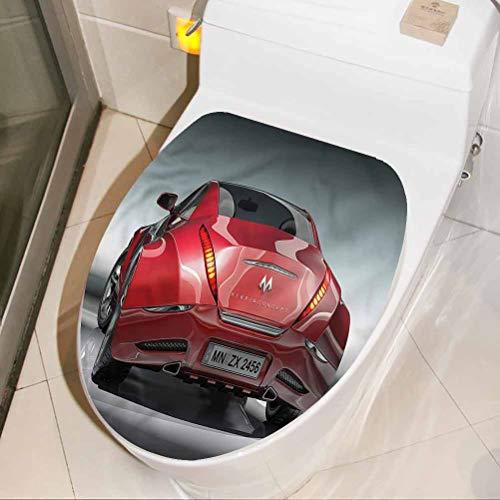 Homesonne vinilo adhesivo de pared decoración de coches, coche deportivo potente motor inodoro asiento de baño vinilo adhesivo para asiento de baño 40 x 21 pulgadas