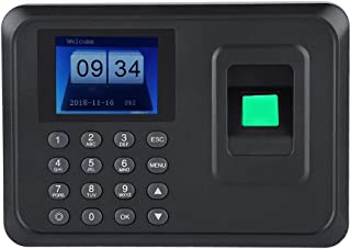 Fingerprint Password Attendance Machine 2.4inches TFT LCD Screen Employee Checking-in Recorder DC 5V Time Attendance Clock(US Plug)