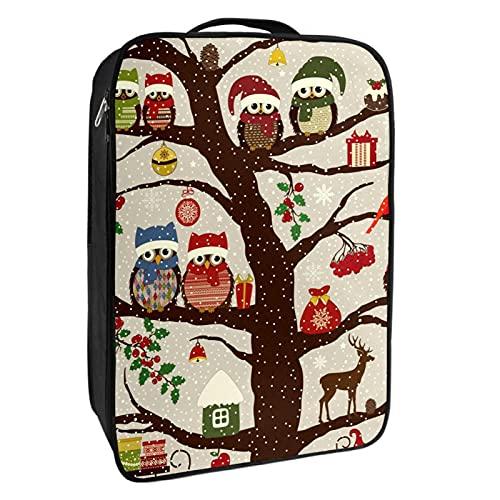 nakw88 Bolsa de zapatos de Navidad con diseño de búhos en el árbol  1-2 pares de zapatos para viajes y uso diario  sistema de embalaje conveniente para tus zapatos