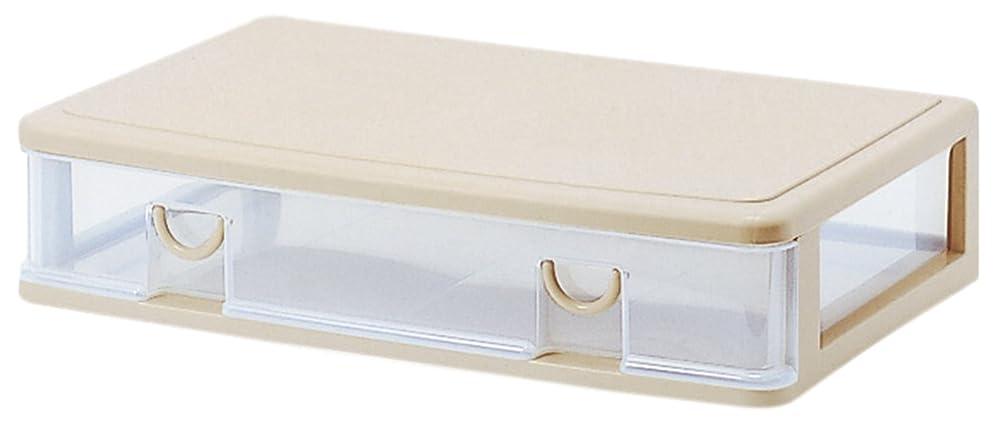 受賞本会議アシストサンコープラスチック 衣類収納薄型 ワイドエルピス 幅61×奥40.3×高13.4cm ソフトベージュ
