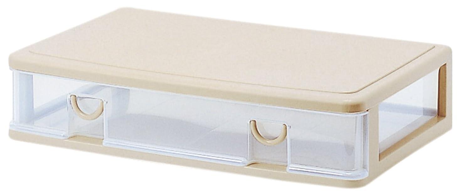 フィードバックボリューム借りているサンコープラスチック 衣類収納薄型 ワイドエルピス 幅61×奥40.3×高13.4cm ソフトベージュ