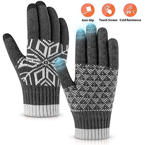 Pvendor Winter Gloves Touch Screen Warm Knit Gloves, Soft Wool Lining Elastic Cuff, Anti-Slip Rubber Design Warm Gloves for Men Women(Gray, OneSize)