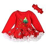 Raburt Newborn Baby Girl My 1st Christmas Dress - Conjunto de disfraz de Navidad con diadema