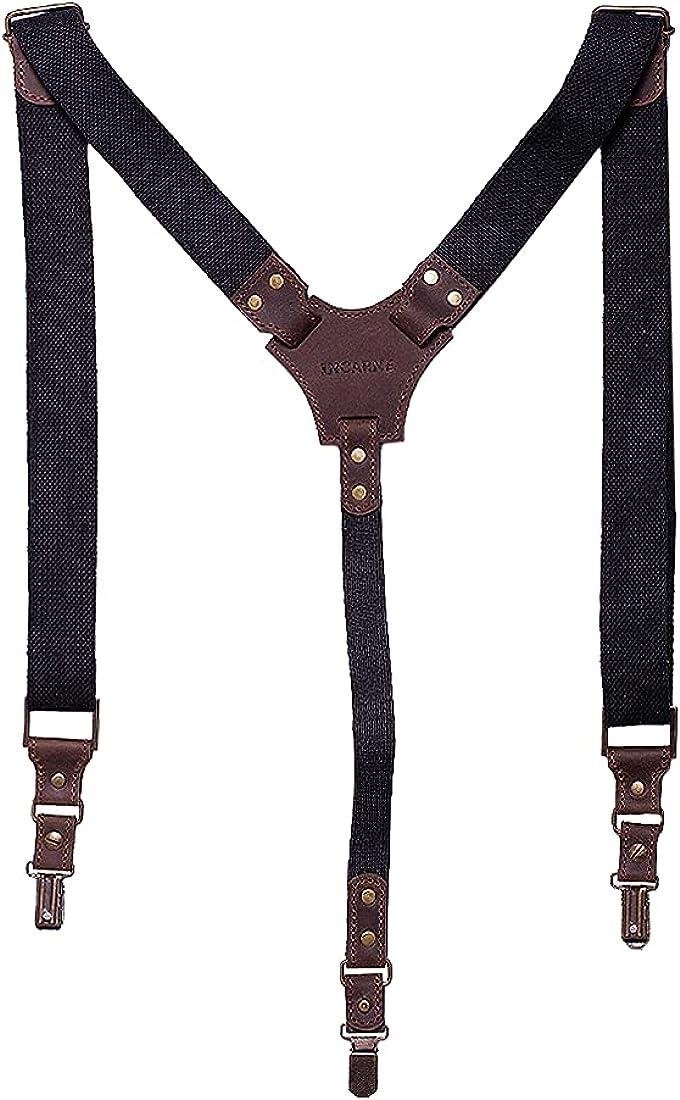 INCARNE - Adjustable Unisex Suspenders 3 Clips Suspenders With Adjustable Straps Suspenders For Boys And Girls Brown/Black Color