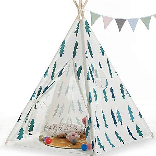 Decoración de la Carpa para niños Pequeño árbol Imprimir 4 Pole Indian Tent con Bolsa de Transporte Lienzo de algodón Plegable Tepee Ventana de habitación para GI (Tienda) TINGG