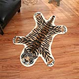 Tiger Print Rug, 2.7 x 3.5 Feet Faux Fur Cowhide Skin Rug Animal Printed Area Rug Carpet for Decorating Kids Room, Under Coffee Table , Cowboy-Themed Nursery , Jungle Themed Room, Playroom