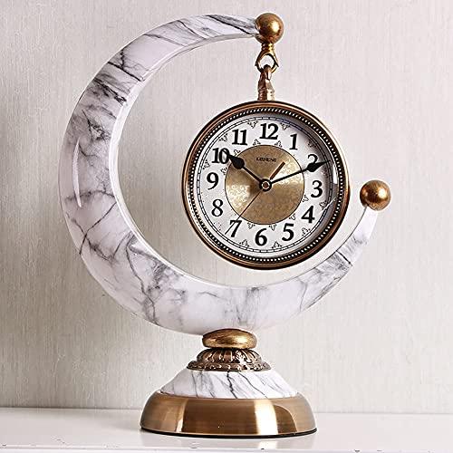WSDDNXM CreativityMantel Clock Cermet Crescent Non-TickingReloj de Escritorio Funciona con Pilas Movimiento de Cuarzo silencioso Dormitorio Sala de Estar Decoración interiorReloj