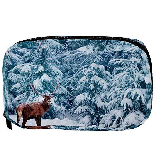 Bolsas de cosméticos TIZORAX Deer In The Winter Snowy Forest Handy Toiletry Travel Bag Organizador Bolsa de maquillaje para mujeres Niñas
