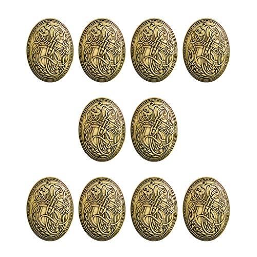 Sharplace Paquete de 10 Broches con Símbolo de Escudo Vikingo Medieval, Sujetadores de Ropa - Capa, Chal, Alfiler de Bufanda, Alfiler de Solapa Nórdico Celta