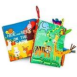 MOOKLIN ROAM 2Pcs Livre de Tissu de Bébé, Animal de Queue Bébé Eveil Livre, Educatif Activité en Jouets Cadeau pour Enfants Bébé Bambin (Tigre + Ferme)