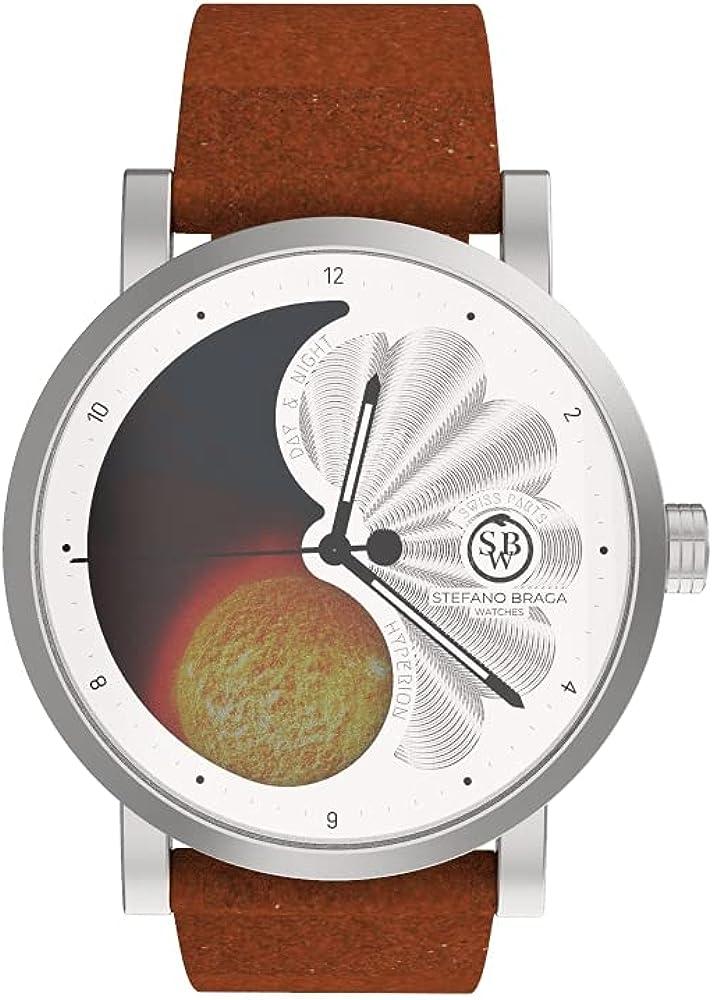 Swb sole ying-yang orologio per uomo in acciaio inossidabile e pelle Hyperion