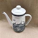 ViewSys Tetera, Té teteras Establece esmaltado Hervidor teteras Ollas Estilo mediterráneo 1.1L Esmalte Cafetera Tetera Flor de la Tetera de Aceite Pot Taza de té, (Color : Seagull)