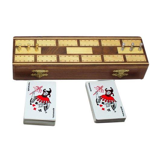 RoyaltyRoute 2 Track Board Cribbage in Legno e pioli Set con 2 mazzi di Carte da Gioco