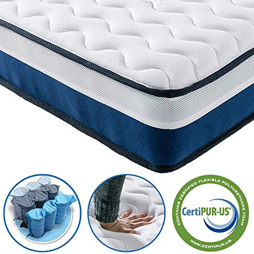 Vesgantti 10 Inch European Small Double Mattress 120x200 cm - Medium Firm Feel - Pocket Spring and Comfort Foam - CertiPUR-US Certified/100 Night Trial