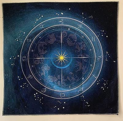 Hippolya Altar Tarot Cloth Blue 12 Constellations Natural Wheel Tablecloth Astrology Tarot Divination Cards Table Cloth Tapestry