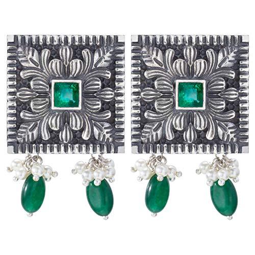 Aheli - Pendientes de tuerca con diseño floral oxidado, estilo bohemio, étnico de Bollywood, joyería de moda tribal para mujeres