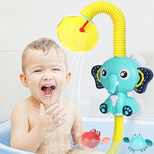 Toyssa Juguetes Bañera para Bebés Eléctrico Elefante Rociador de Agua Aspersor Juguete con 2 Cangrejo Flotantes Juguetes Baño Juegos de Ducha Regalos para Niños Niñas ( Azul )