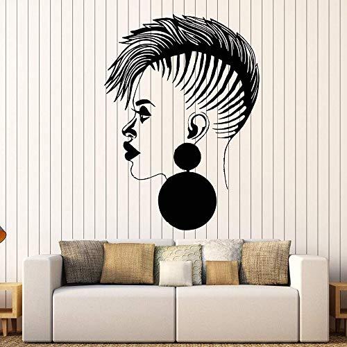 Abkbcw Peluquería calcomanías de Vinilo para Pared salón de Belleza Africano Negro señoras Pegatinas peluquería Letrero de la Ventana decoración de la Pared de la Tienda 48x68cm