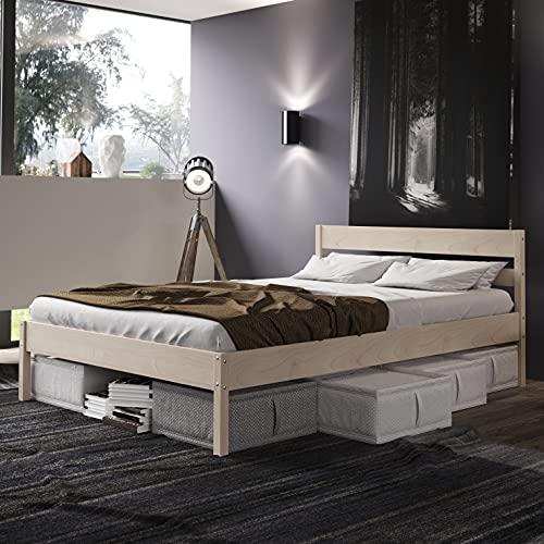 Holzbett 180x200 cm Kaja Scandi Style mit Rollrost aus unbehandeltem hartem FSC Birken Massivholz - über 700 kg - Doppelbett Bettgestell mit Kopfteil - Ehebett