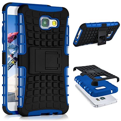 ONEFLOW® Tank Case kompatibel mit Samsung Galaxy A5 (2016) Outdoor Hülle | Panzer Handyhülle mit Ständer - 360 Grad Handy Schutz aus Silikon & Kunststoff, Blau