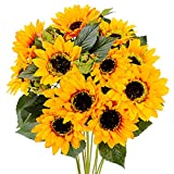 Meiliy Artificial Sunflower Bouquet Fake Silk Sunflowers with Stem Fall Flower Yellow Decor for Home Party Wedding Decoration