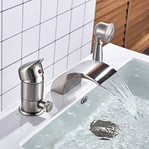 Senlesen Brushed Nickel Single Handle 3-Hole Waterfall Roman Tub Filler Faucet with Hand Shower