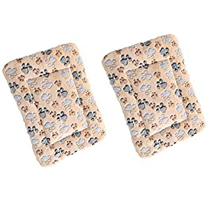 HOMEREIGN Pet Bed Mats 2 PCS. Ultra Soft Pet (Dog/Cat) Bed with Cute Prints. Reversible Faux Lambswool Kennel Pad for Medium Small Dogs and Cats. Machine Washable Pet Bed.