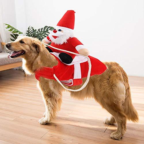 SmallPocket Hundekostüm Weihnachten, Hundemantel Winter mit Santa Claus Reiten auf Haustier Katze Hund Hundekostüm Weihnachten Rot Für Hund Haustierbekleidung Chihuahua Yorkshire Pudel S/M/L/XL