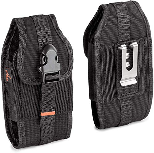 Agoz Sonim XP8 XP7 Holster, Rugged Case for Sonim XP8 XP8800, Sonim XP7 XP7700, Heavy Duty Rugged Canvas Vertical Pouch Cover with Metal Belt Clip, Belt Loops, Card Slot and Front Buckle Clip